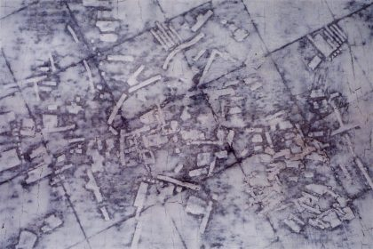 Untitled Shetland Map No 2. 2003-4. Approx 42x29cm. Mixed media & OS map on Card