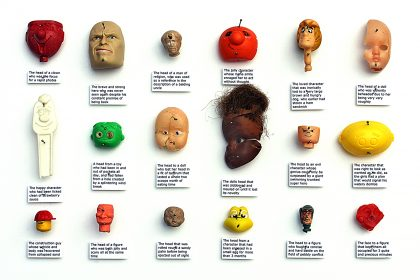 18 Heads, (showing a variety of emotions and characteristics). 2011.
