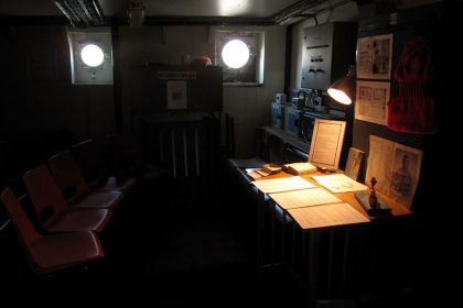 The Secret history of Light Vessel 21. 2011. 'The Secret History of LV21', documents and former crew paraphernalia, display in the control room
