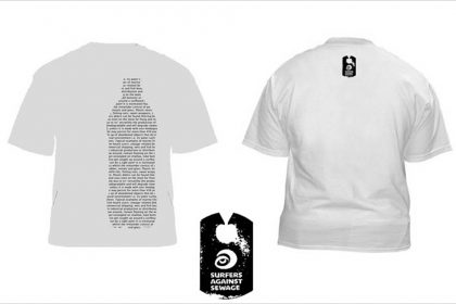 Surfers Against Sewage 'Message in a Bottle' T-Shirt Design. UK. 2012
